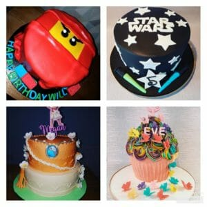 4 cake collage with Lego Ninjago, Star Wars, Moana and butterfly themes