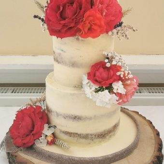 Two tier cream and silver buttercream wedding cake decorated with red, pink and white flowers on a tree trunk base